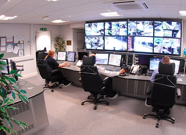 pracoviště s bezpečnostními kamerami